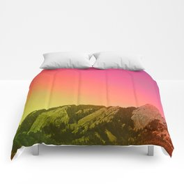Boulder Colorado Flatirons Decor \\ Chautauqua Park Sunset Red Yellow Photo Nature Bohemian Style Comforters