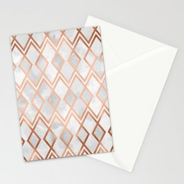 Copper & White Geo Diamonds Stationery Cards