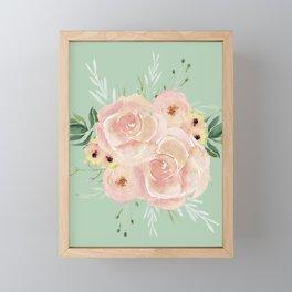 Wild Roses on Pastel Cactus Green Framed Mini Art Print