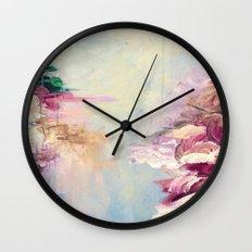 WINTER DREAMLAND 1 Colorful Pastel Aqua Marsala Burgundy Cream Nature Sea Abstract Acrylic Painting  Wall Clock