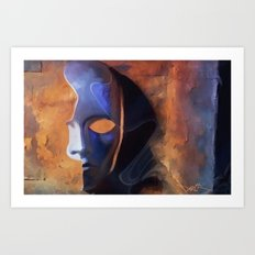 Disguise - pop surrealism, mask, phantom, face, half mask,  Art Print