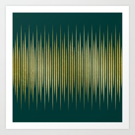 Linear Gold & Emerald Art Print