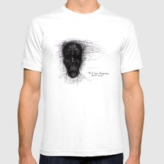 Scribble Face White Mens Fitted Tee SMALL