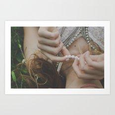 She wore pearls Art Print