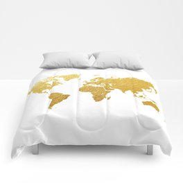 World Map Gold Foil Comforters