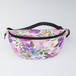 Elegant blush pink violet lavender watercolor summer floral Fanny Pack