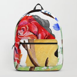 Hand painted red pink green watercolor geometrical abstract roses Backpack