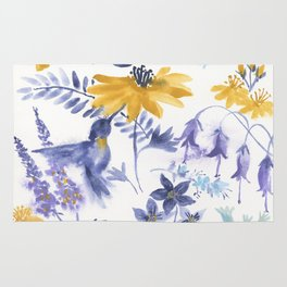Blue and Yellow Garden Snippets Rug