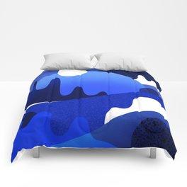 Terrazzo landscape blue night Comforters