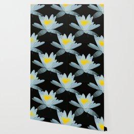 Waterlily Flowers On Black Background #decor #society6 #buyart Wallpaper