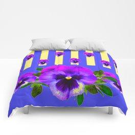 PURPLE PANSIES ON LAVENDER MODERN ABSTRACT ART Comforters
