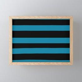 Primary Blue, Wishing Well Blue, Amazing Sky Blue, Blue to the Bone Hand Drawn Fat Horizontal Stripe Framed Mini Art Print