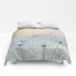ice blue dandelion Comforters