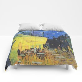Café Terrace at Night by Vincent van Gogh Comforters