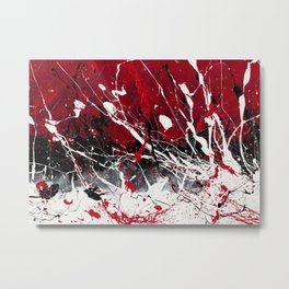 Groove In The Fire - Black and red abstract splash painting by Rasko Metal Print