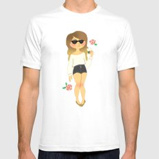 Girl with a Coffee White MEDIUM Mens Fitted Tee