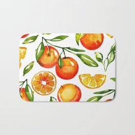 oranges watercolor tangerine fruit print Bath Mat