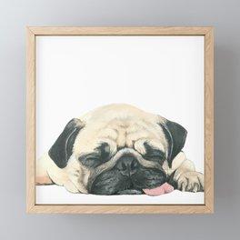 Nap Pug, Dog illustration original painting print Framed Mini Art Print