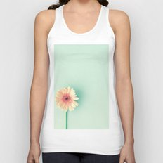 A poem, pink daisy over mint Unisex Tank Top