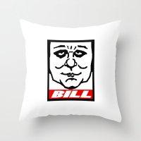 bill Throw Pillows featuring BILL by KINGOFTHERATS