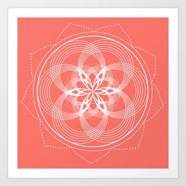 White Mandala On A Living Coral Background Art Print