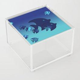Nine Blue Fish with Patterns Acrylic Box