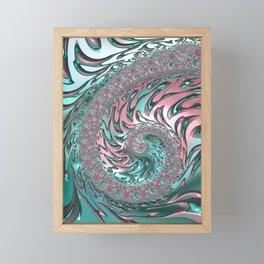 Coral and Teal Spiral Framed Mini Art Print