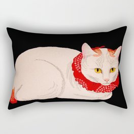 Shotei Takahashi White Cat In Red Outfit Black Background Vintage Japanese Woodblock Print Rectangular Pillow