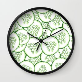 Cucumber slices pattern design Wall Clock