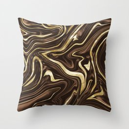 Brown Gold Marble #1 #decor #art #society6 Throw Pillow