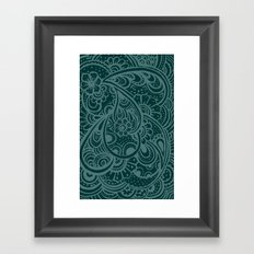 Teal Paisley Framed Art Print