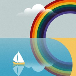 Metal Travel Mug - Rainbow by the Sea - Andrei Popa