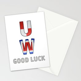 """U"" ""W"" Good Luck - Navy Alphabet - Leather Stationery Cards"