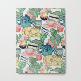 Lazy Afternoon - a chalk pastel illustration pattern Metal Print
