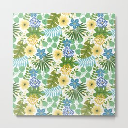 Tropical Blue and Yellow Floral, Light Metal Print