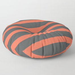 Orange Coral Stripes on Gray Background Floor Pillow