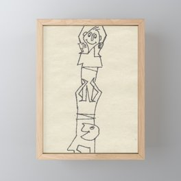 Little Folks Climbing, small people in sketch. by  D. Messenger Framed Mini Art Print