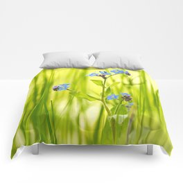 Lovely Morning Meadow Forget Me Not #decor #society6 Comforters