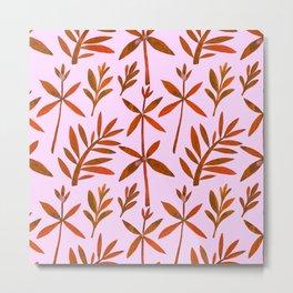 Orange Brown Watercolor Autumn Leaves Pattern Metal Print