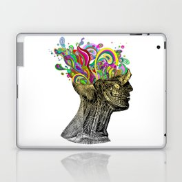 Bright neon pink yellow abstract anatomical skull Laptop & iPad Skin