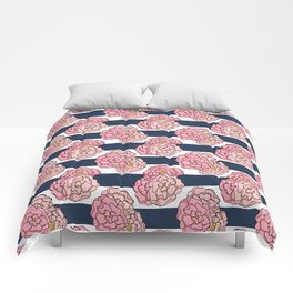 Pink Peony Floral on Navy Blue and White Stripes Comforters