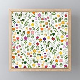 Scandinavian Style Flora & Fauna Pattern Framed Mini Art Print