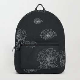 Witchcraft Black and White Floral Pattern - Line Art - Grained Texture Backpack