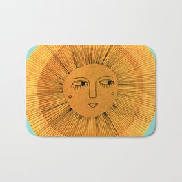 Sun Drawing - Gold and Blue Bath Mat