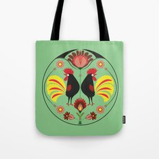 Polish Folk With Decorative Roosters Tote Bag