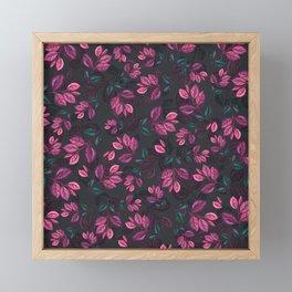 Purple Leaves Pattern Framed Mini Art Print