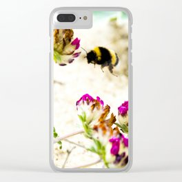 the flight of bumble bee on the dunes I Clear iPhone Case