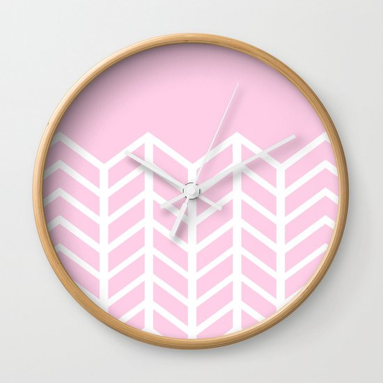 LACE CHEVRON (PINK) Wall Clock