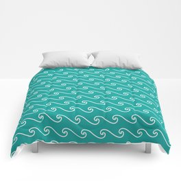 Wave Pattern   Teal and White Comforters