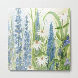 Watercolor Botanical Garden Flower Wildflower Blue Flower Garden Metal Print